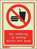 8091D - Jalite No drinking or eating within this area Sign